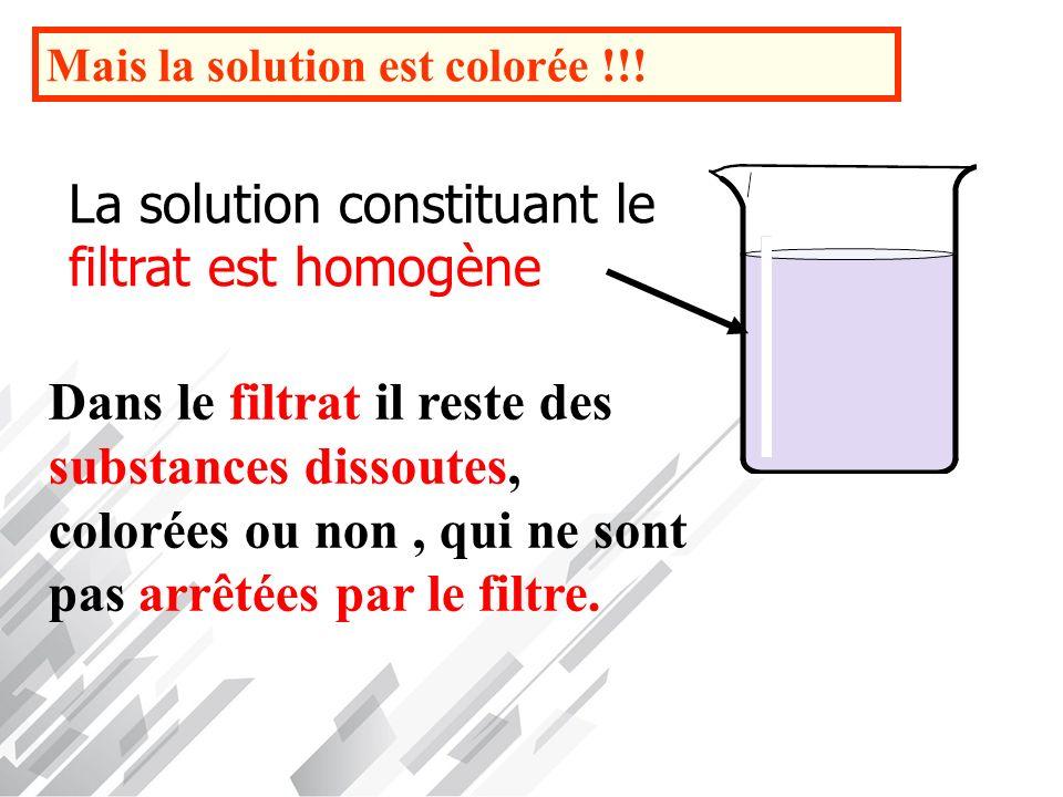 La solution constituant le filtrat est homogène