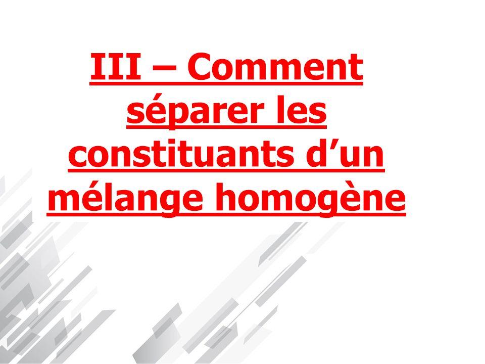 III – Comment séparer les constituants d'un mélange homogène