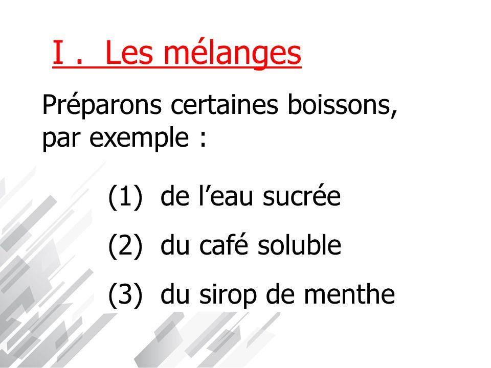 I . Les mélanges Préparons certaines boissons, par exemple :