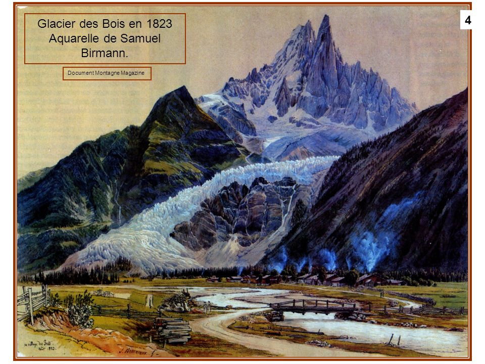 Glacier des Bois en 1823 Aquarelle de Samuel Birmann.