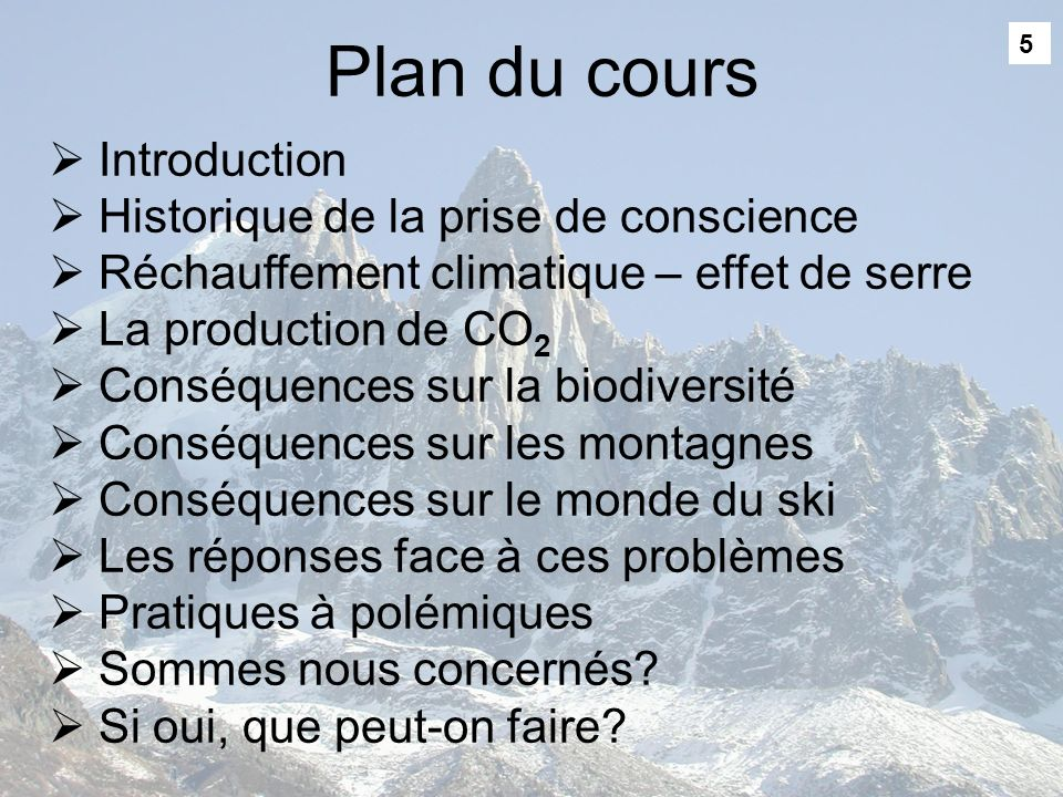 Plan du cours Introduction Historique de la prise de conscience