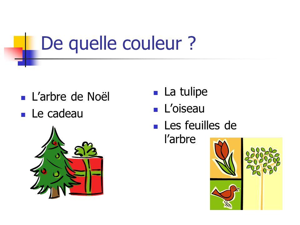 De quelle couleur La tulipe L'arbre de Noël L'oiseau Le cadeau