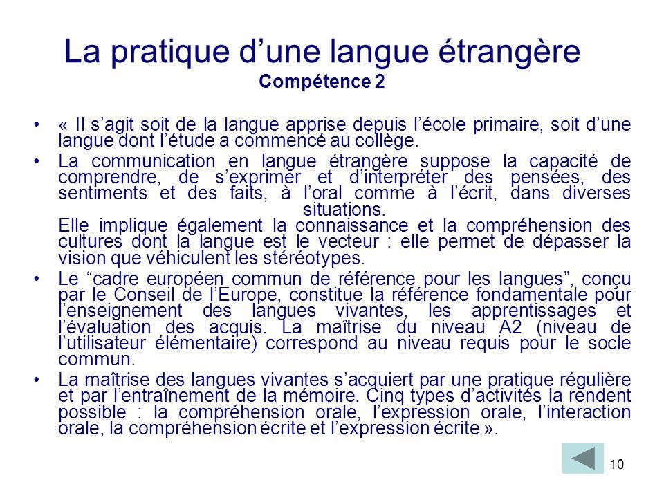 La pratique d'une langue étrangère Compétence 2