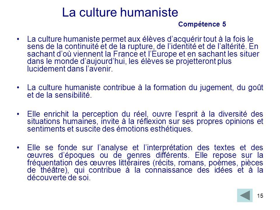 La culture humaniste Compétence 5