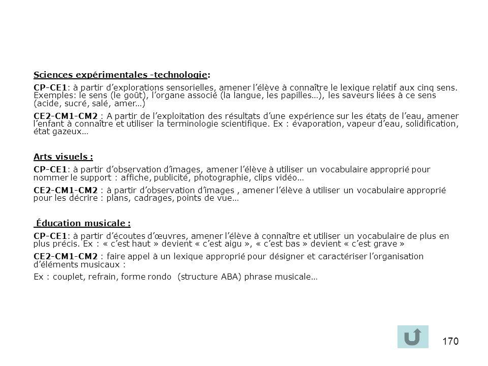Sciences expérimentales -technologie: