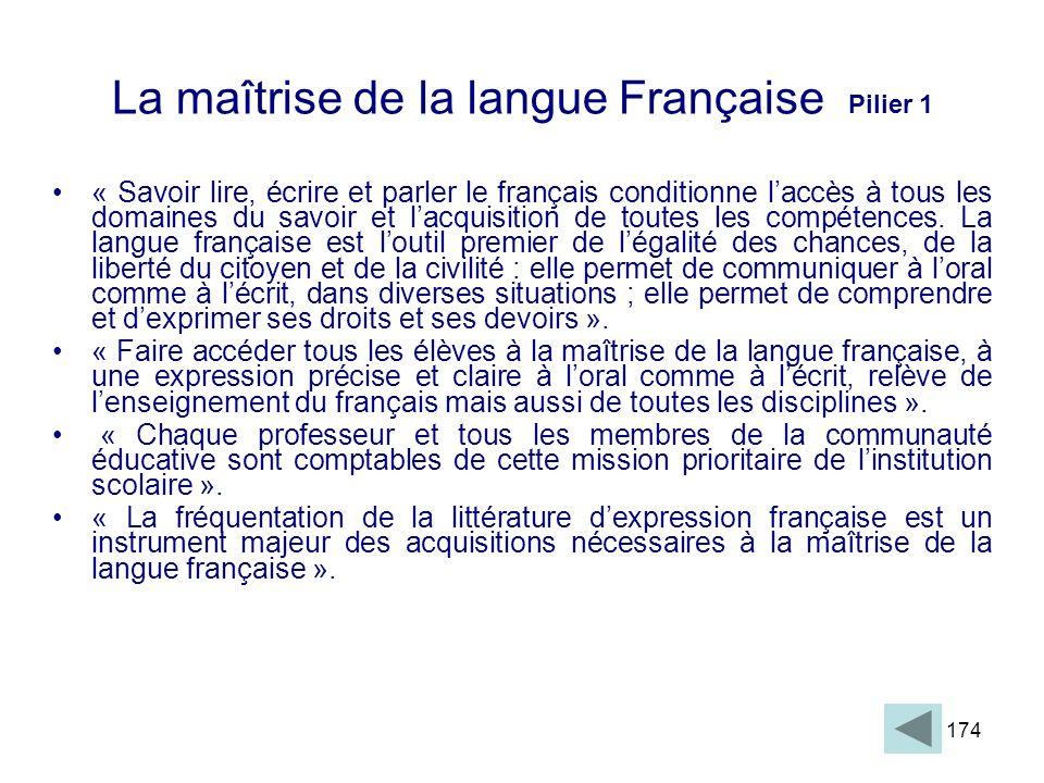 La maîtrise de la langue Française Pilier 1