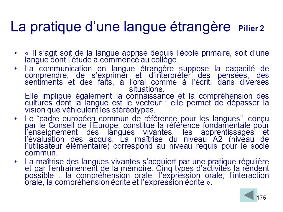 La pratique d'une langue étrangère Pilier 2