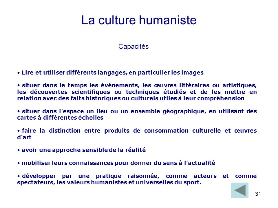 La culture humaniste Capacités