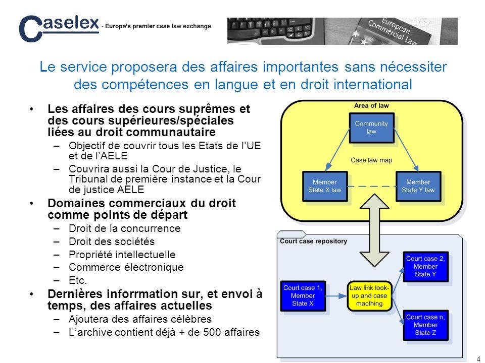 Le service proposera des affaires importantes sans nécessiter des compétences en langue et en droit international