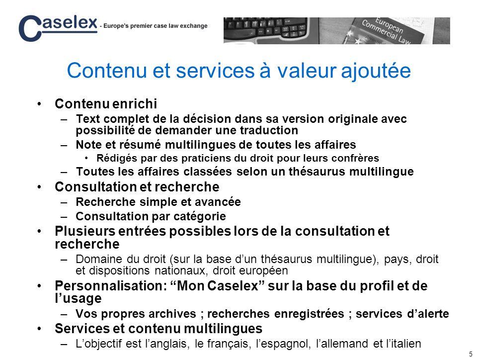 Contenu et services à valeur ajoutée