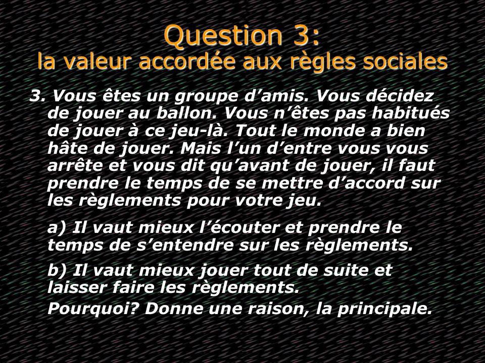 Question 3: la valeur accordée aux règles sociales