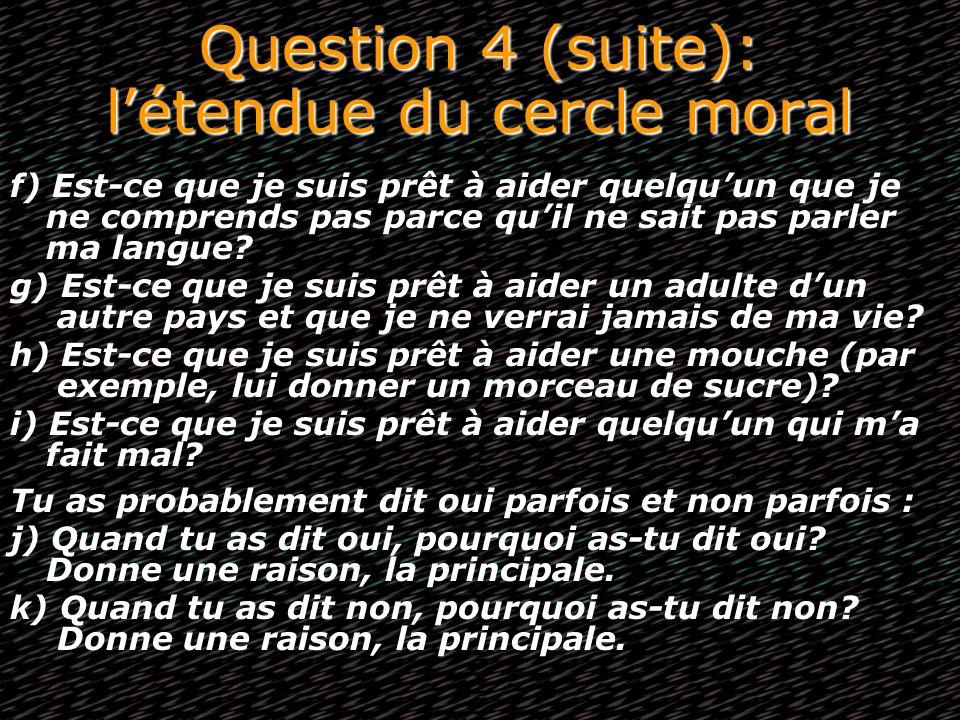 Question 4 (suite): l'étendue du cercle moral