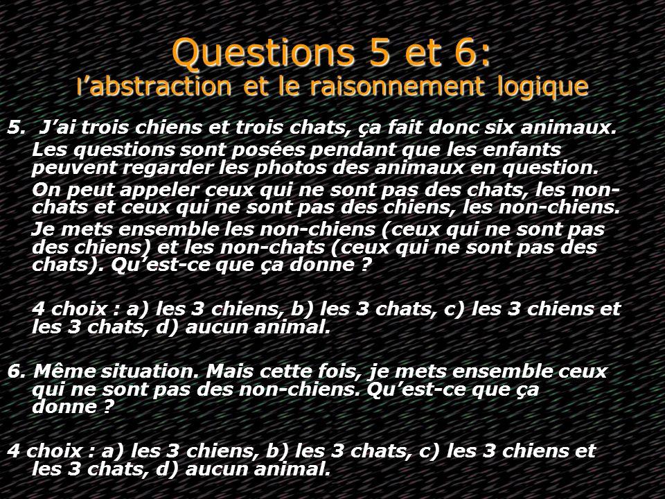 Questions 5 et 6: l'abstraction et le raisonnement logique