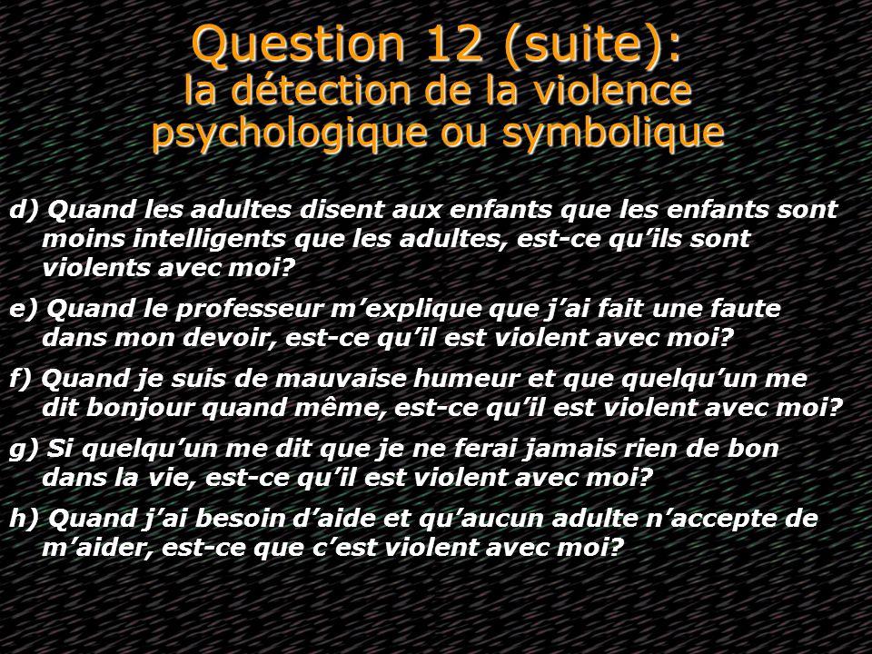 Question 12 (suite): la détection de la violence psychologique ou symbolique