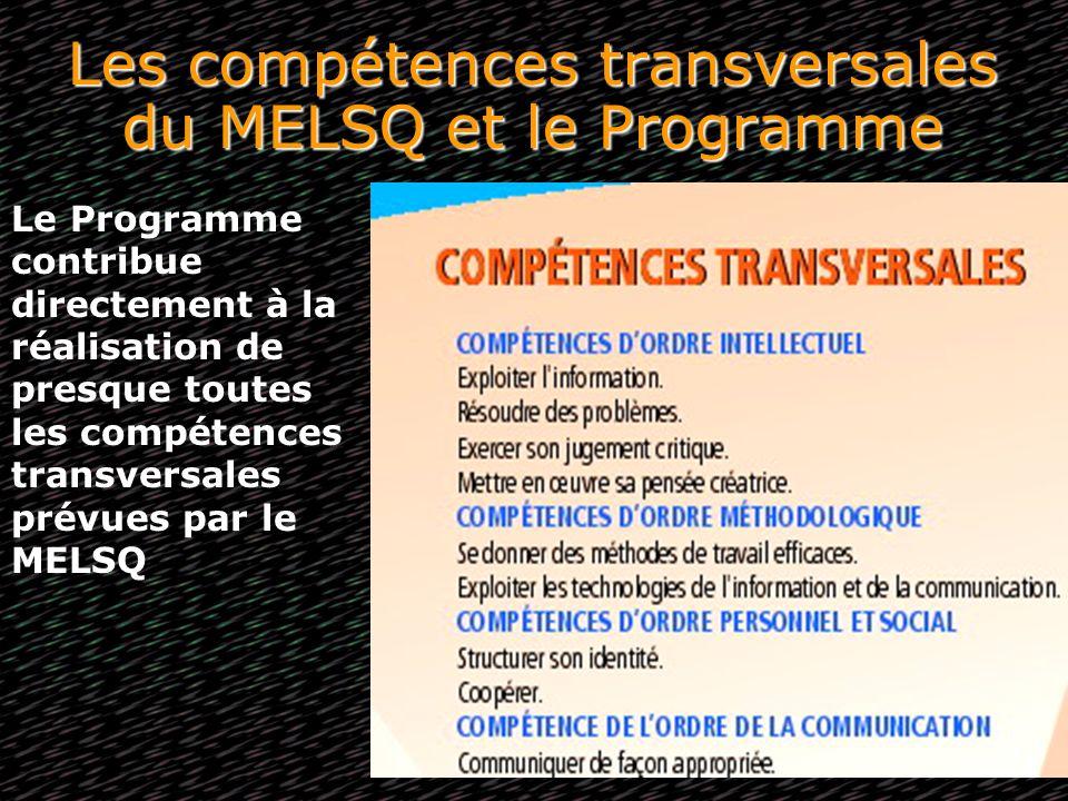 Les compétences transversales du MELSQ et le Programme