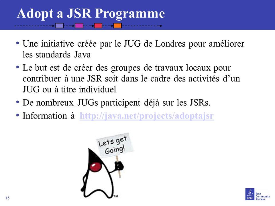 Adopt a JSR Programme Une initiative créée par le JUG de Londres pour améliorer les standards Java.