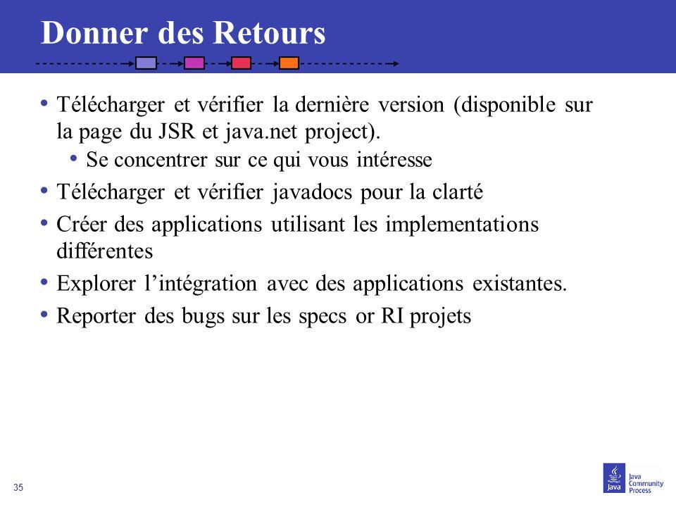 Donner des Retours Télécharger et vérifier la dernière version (disponible sur la page du JSR et java.net project).
