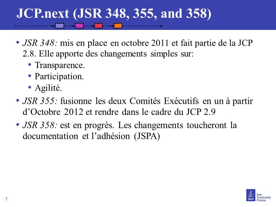 JCP.next (JSR 348, 355, and 358) JSR 348: mis en place en octobre 2011 et fait partie de la JCP 2.8. Elle apporte des changements simples sur: