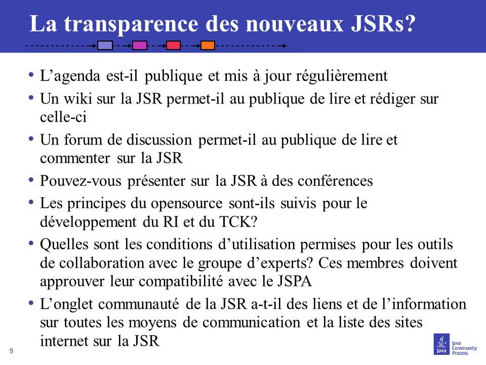 La transparence des nouveaux JSRs
