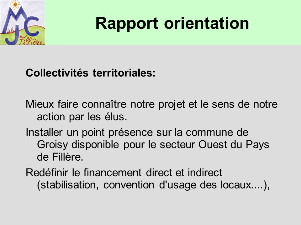 Rapport orientation Collectivités territoriales: