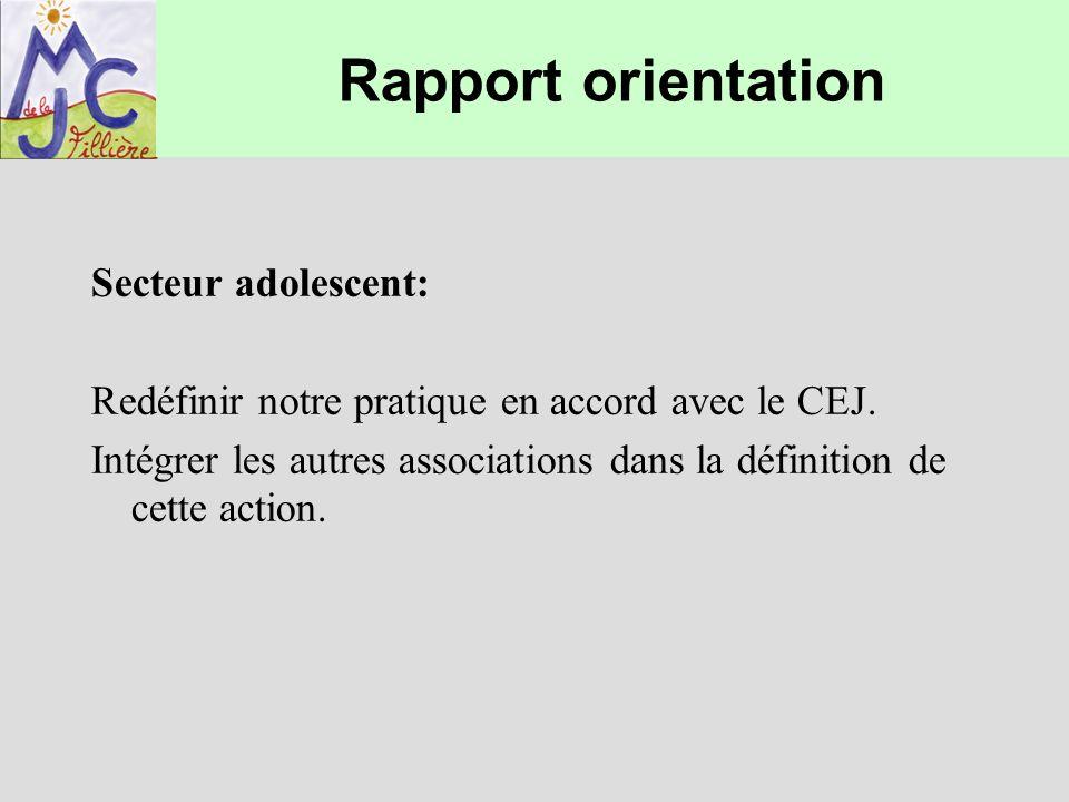 Rapport orientation Secteur adolescent: