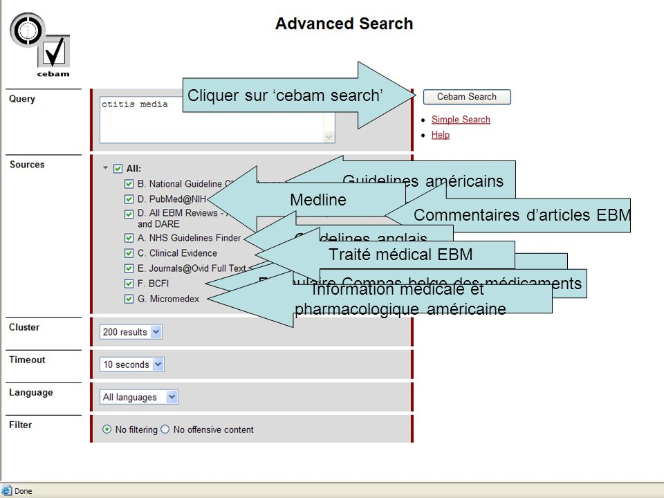 Cliquer sur 'cebam search'