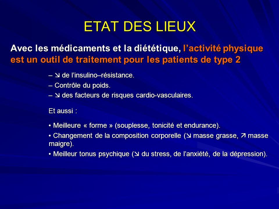 ETAT DES LIEUXAvec les médicaments et la diététique, l'activité physique est un outil de traitement pour les patients de type 2.