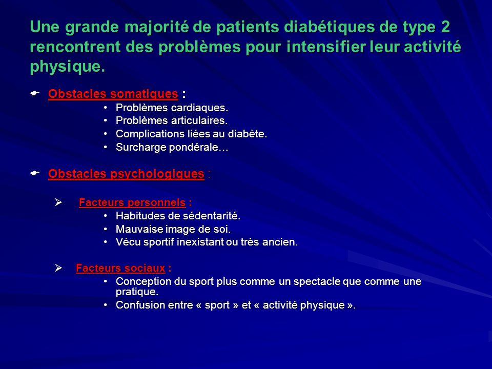 Une grande majorité de patients diabétiques de type 2 rencontrent des problèmes pour intensifier leur activité physique.