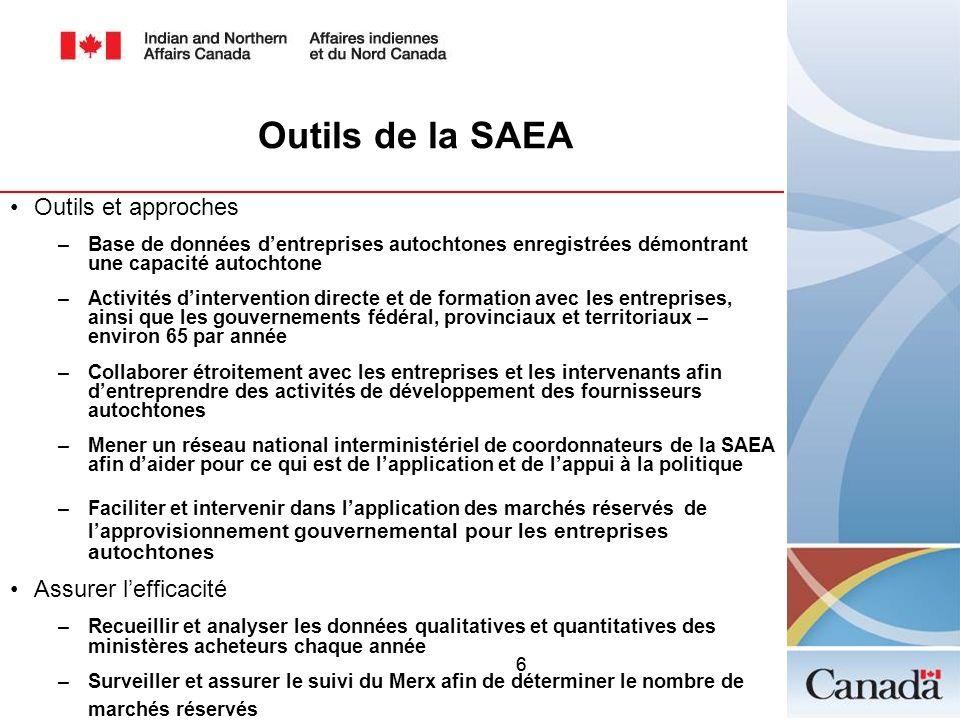 Outils de la SAEA Outils et approches Assurer l'efficacité