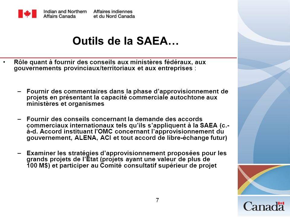 Outils de la SAEA…Rôle quant à fournir des conseils aux ministères fédéraux, aux gouvernements provinciaux/territoriaux et aux entreprises :