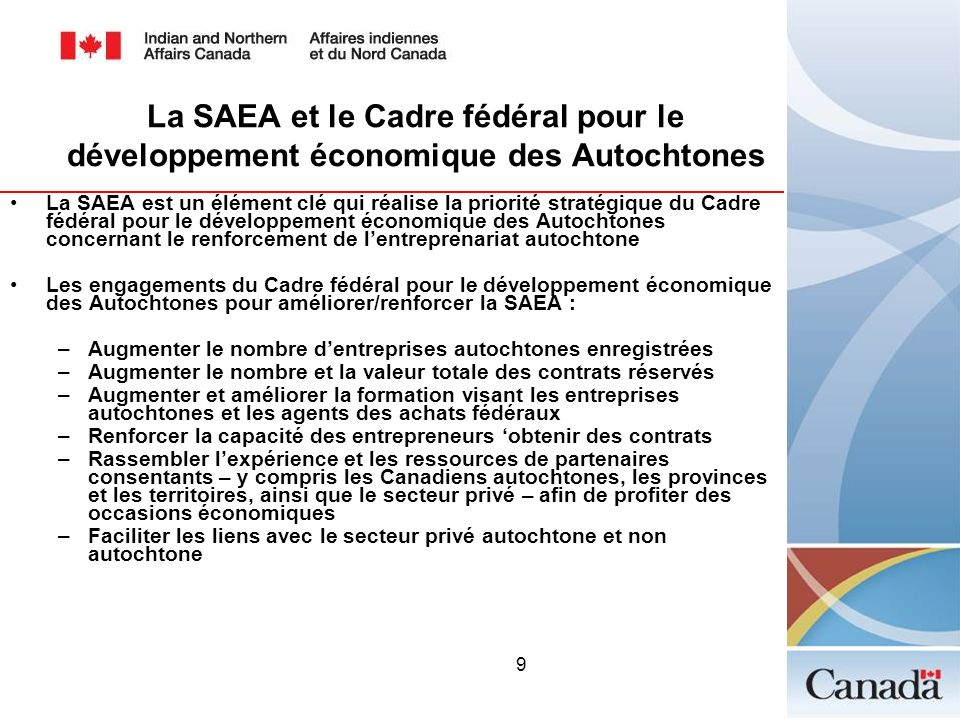 La SAEA et le Cadre fédéral pour le développement économique des Autochtones
