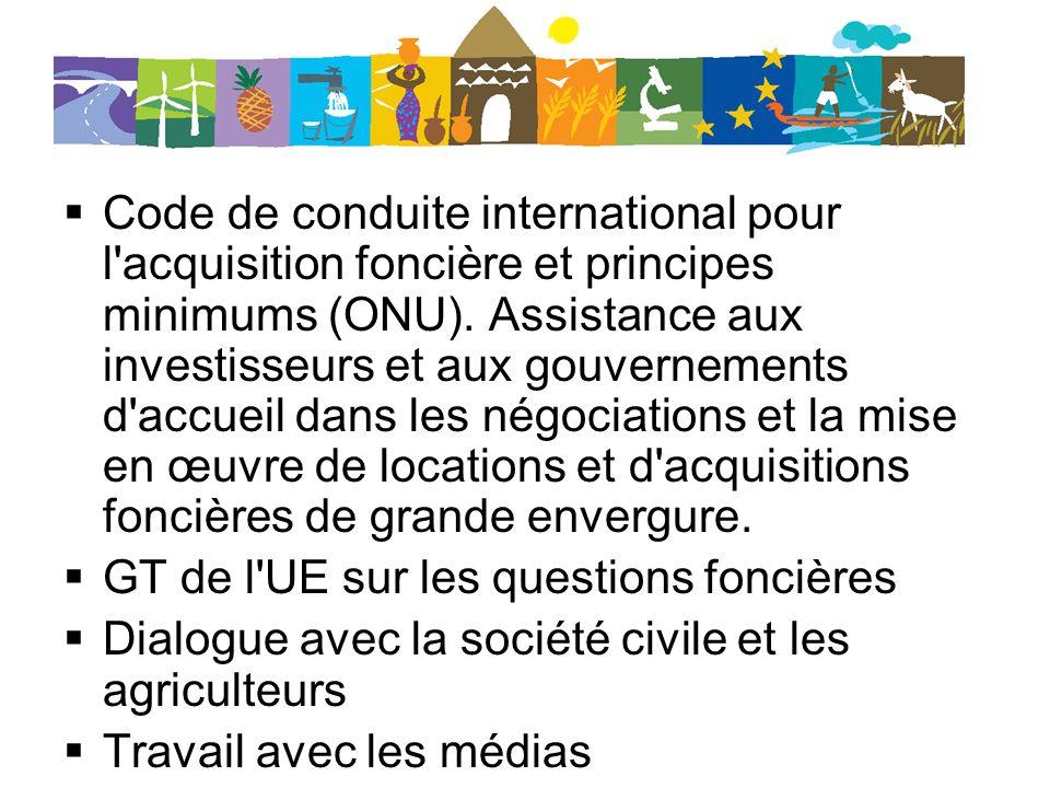 Code de conduite international pour l acquisition foncière et principes minimums (ONU). Assistance aux investisseurs et aux gouvernements d accueil dans les négociations et la mise en œuvre de locations et d acquisitions foncières de grande envergure.