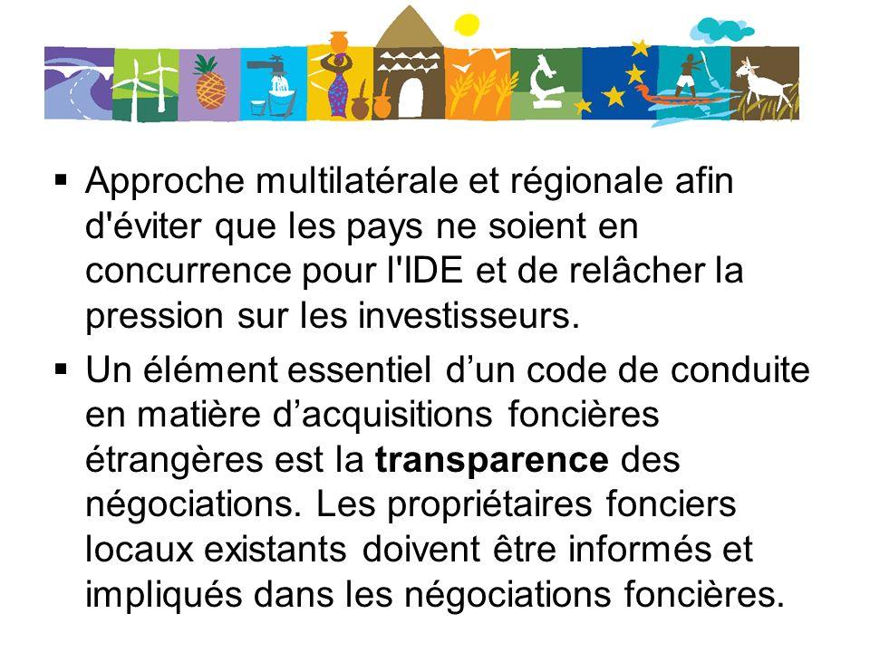 Approche multilatérale et régionale afin d éviter que les pays ne soient en concurrence pour l IDE et de relâcher la pression sur les investisseurs.