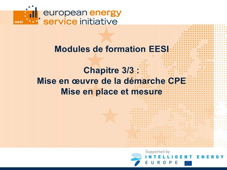 Modules de formation EESI Chapitre 3/3 : Mise en œuvre de la démarche CPE Mise en place et mesure