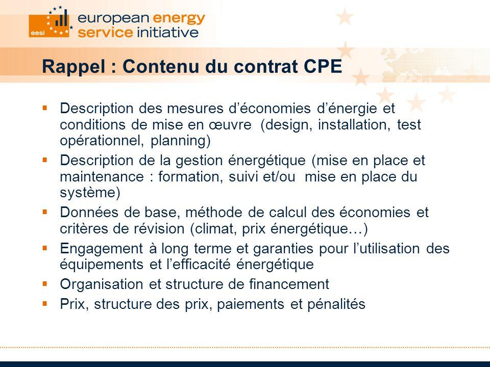 Rappel : Contenu du contrat CPE