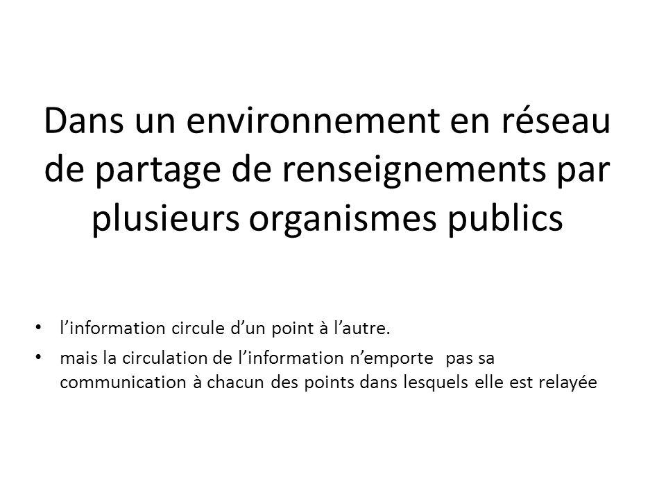 Dans un environnement en réseau de partage de renseignements par plusieurs organismes publics