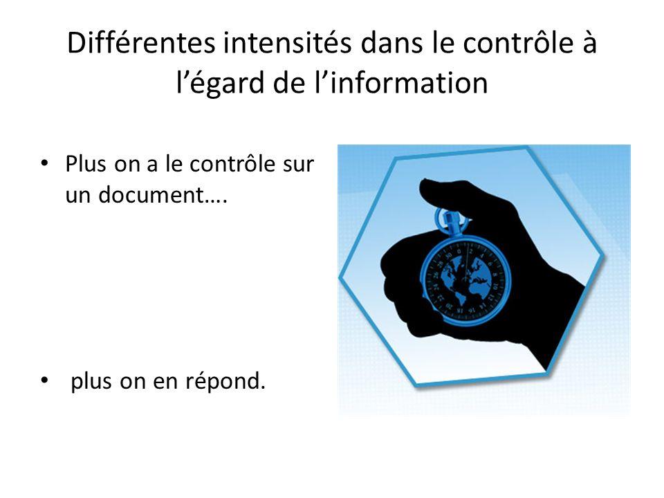 Différentes intensités dans le contrôle à l'égard de l'information