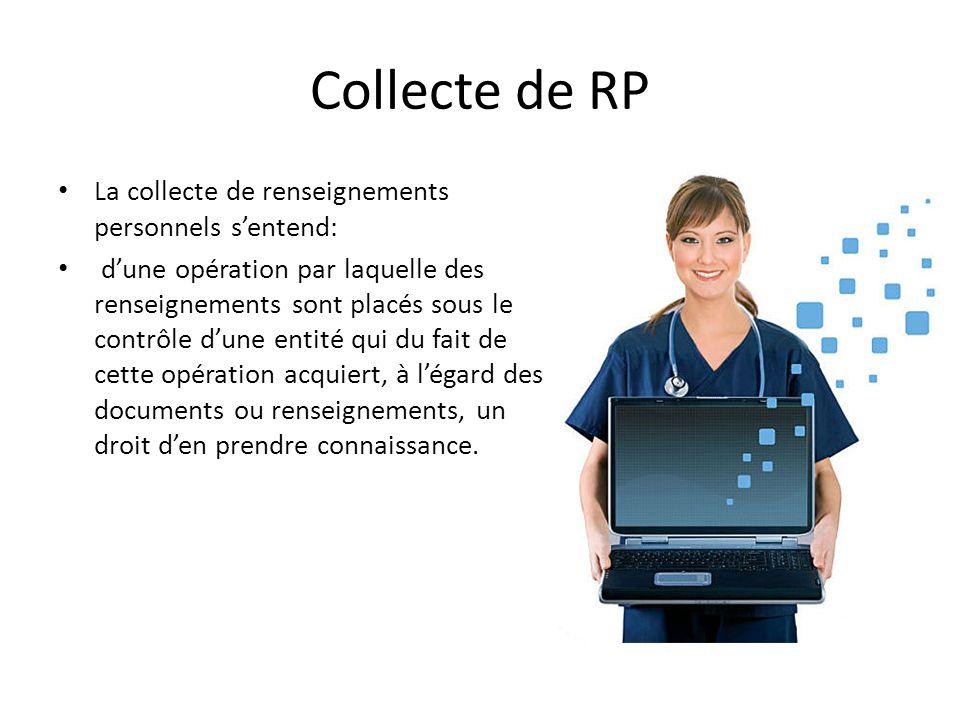 Collecte de RP La collecte de renseignements personnels s'entend: