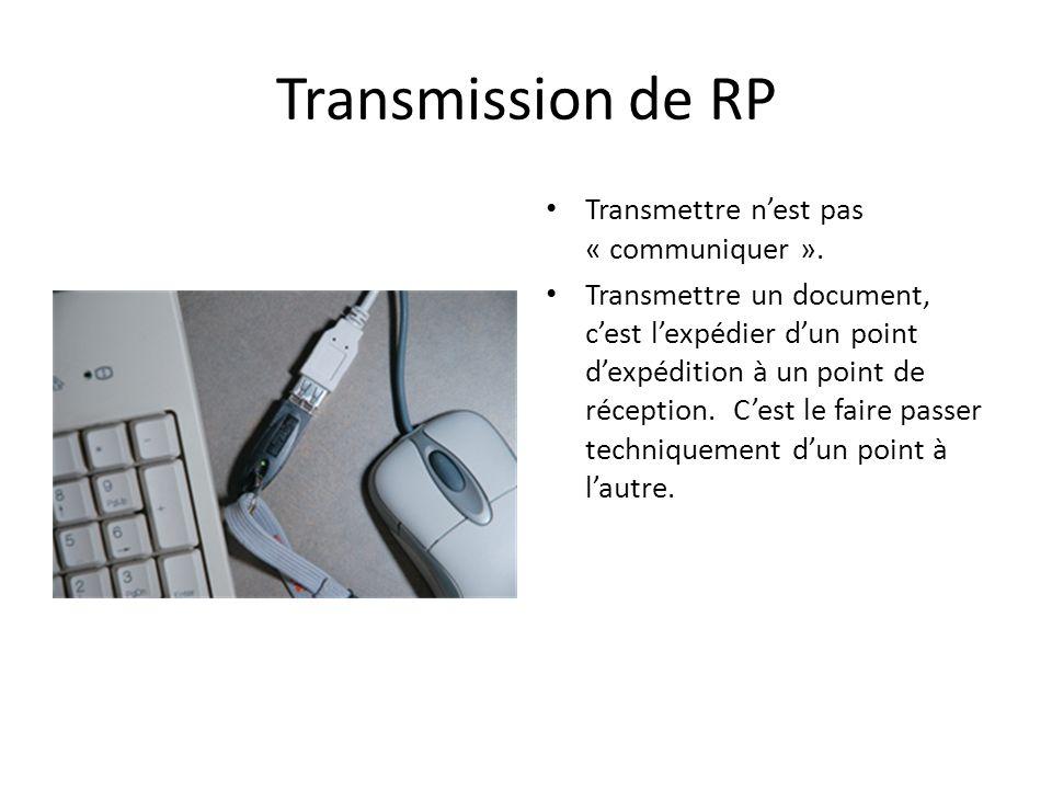 Transmission de RP Transmettre n'est pas « communiquer ».