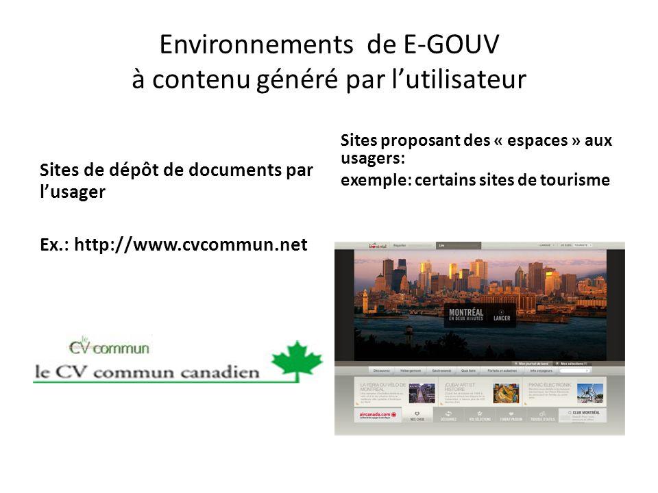 Environnements de E-GOUV à contenu généré par l'utilisateur