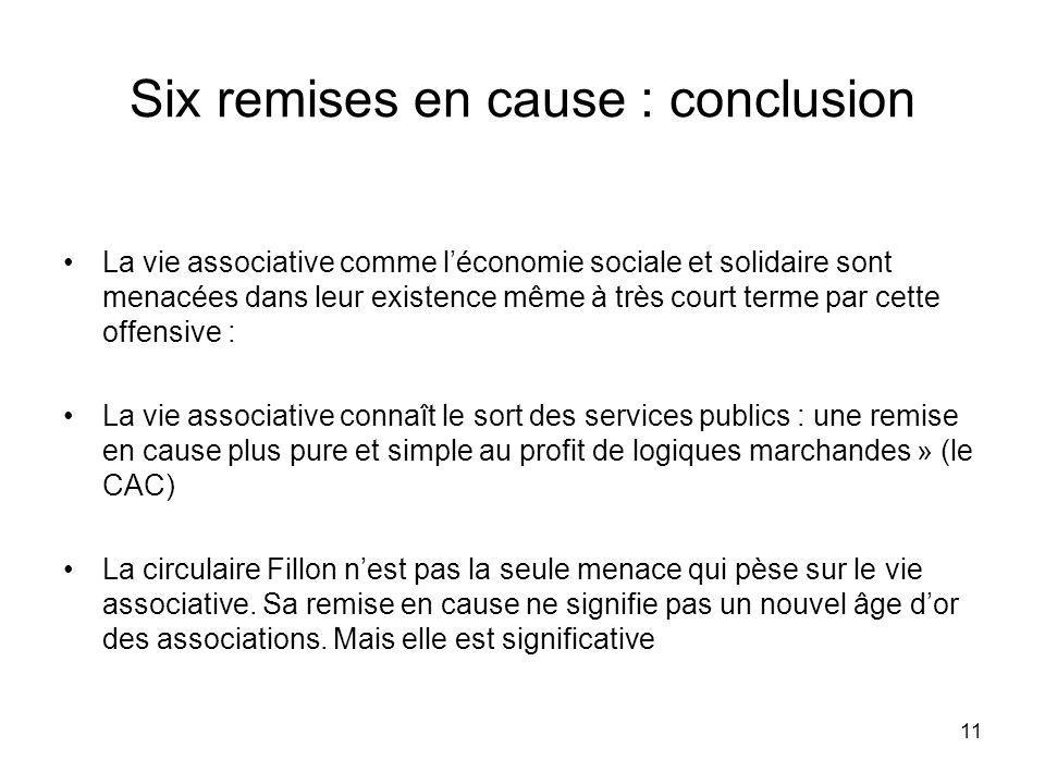 Six remises en cause : conclusion