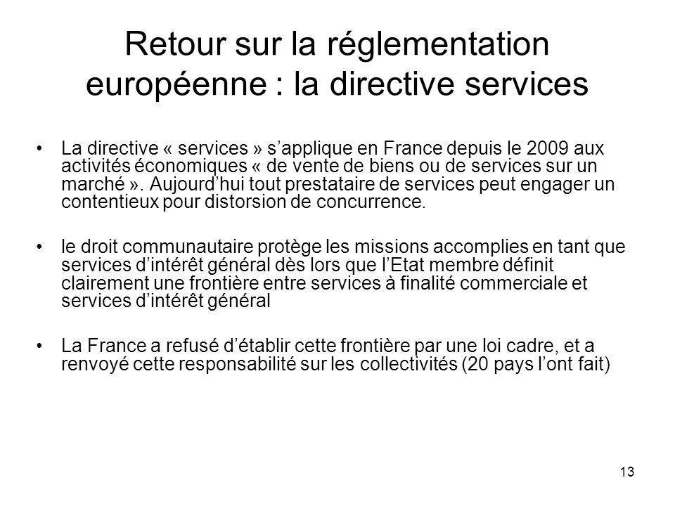 Retour sur la réglementation européenne : la directive services