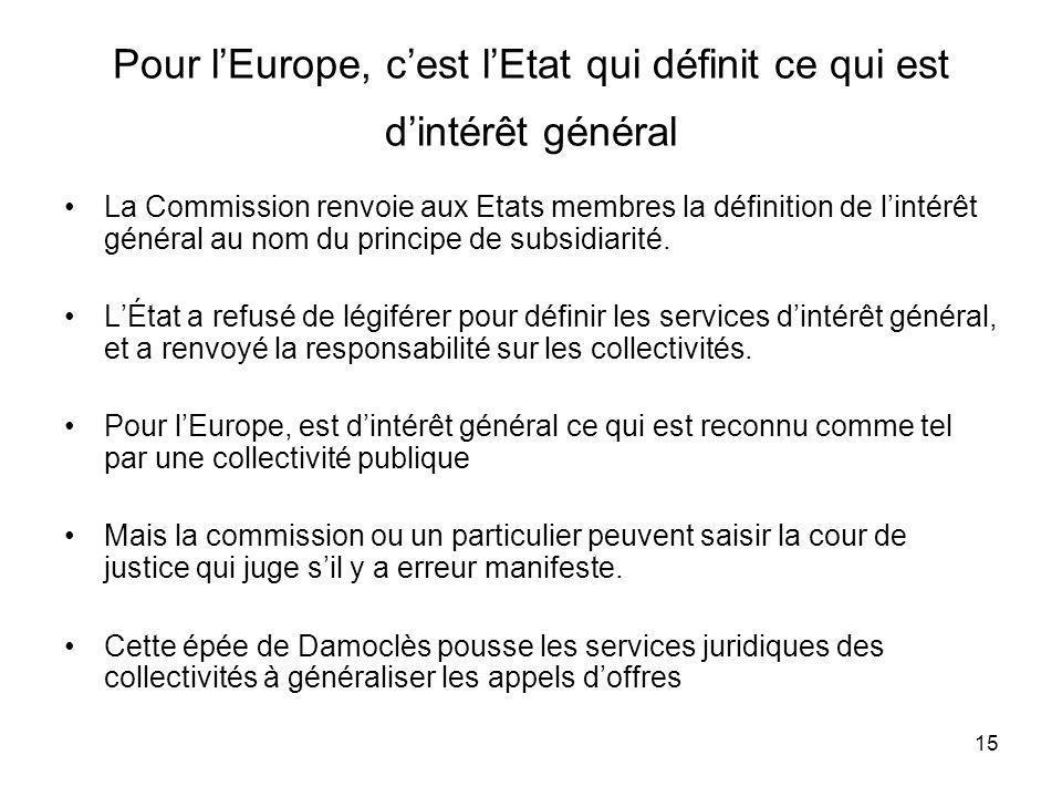 Pour l'Europe, c'est l'Etat qui définit ce qui est d'intérêt général