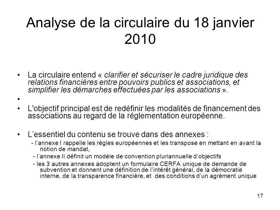 Analyse de la circulaire du 18 janvier 2010
