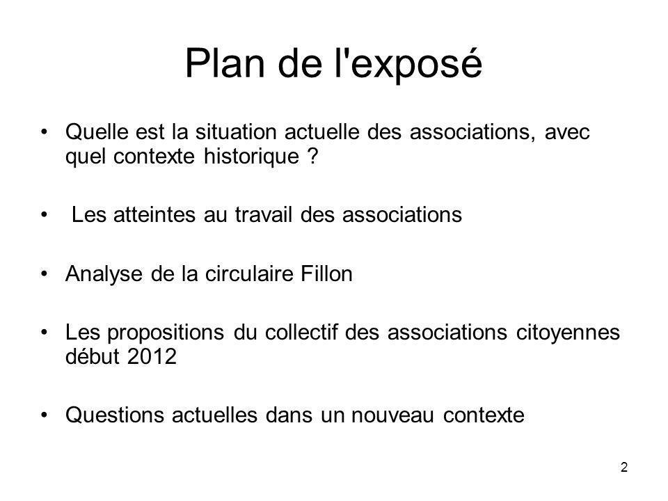 Plan de l exposé Quelle est la situation actuelle des associations, avec quel contexte historique