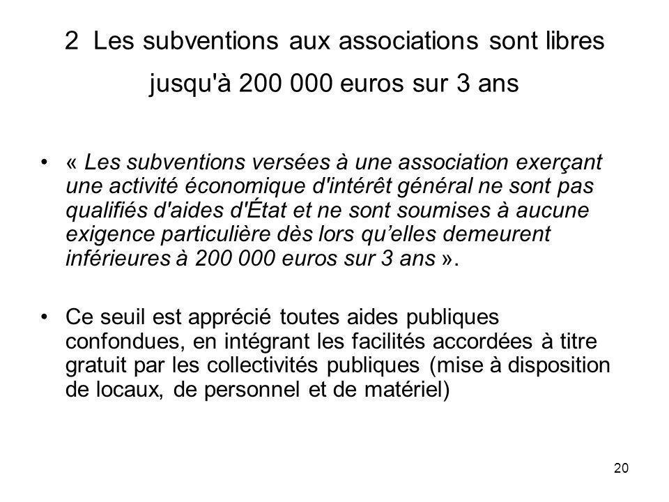 2 Les subventions aux associations sont libres jusqu à 200 000 euros sur 3 ans