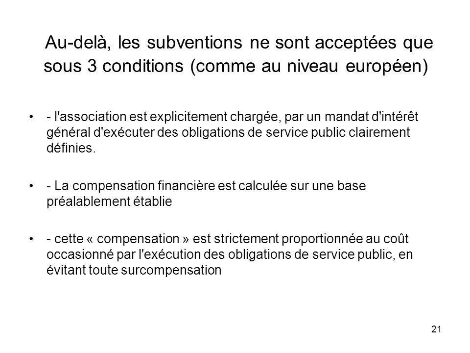 Au-delà, les subventions ne sont acceptées que sous 3 conditions (comme au niveau européen)