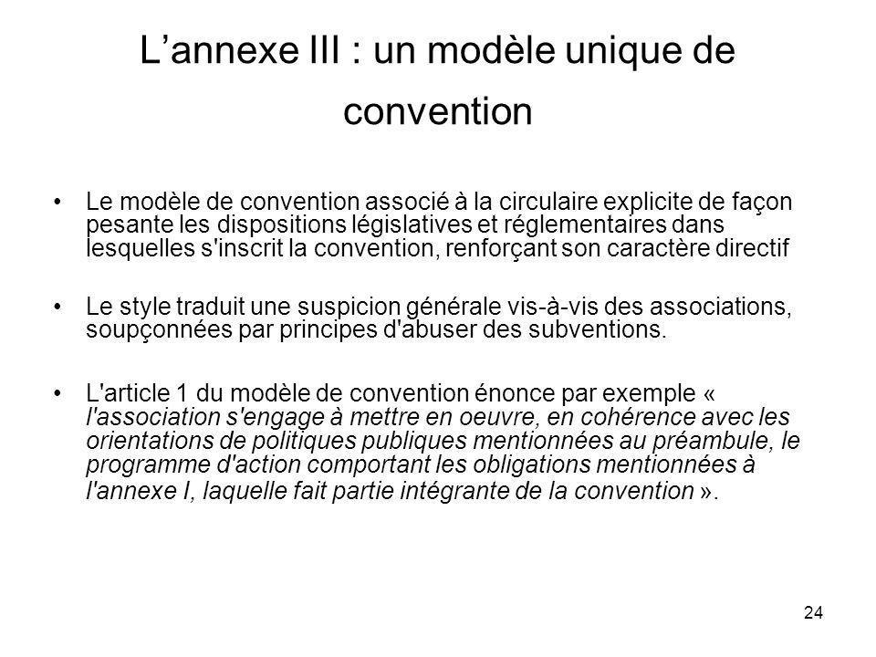 L'annexe III : un modèle unique de convention