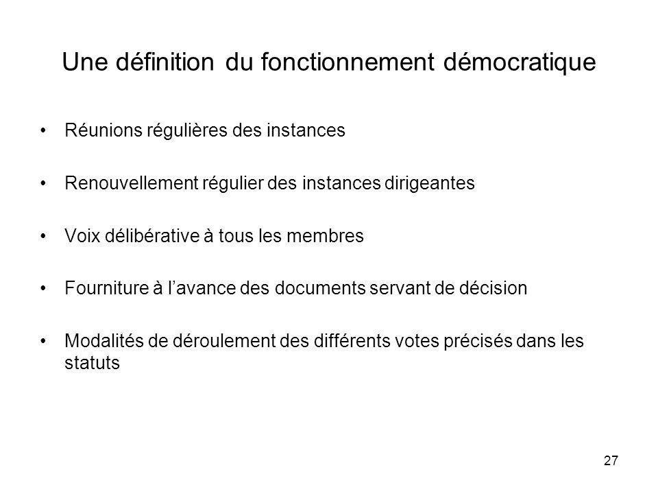 Une définition du fonctionnement démocratique