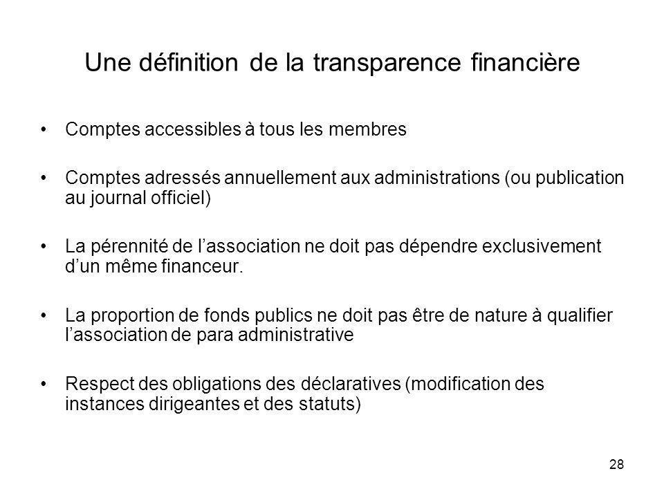 Une définition de la transparence financière